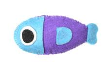 Blue Felt Fish Isolated On White