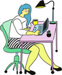オフィスデスクでパソコン作業をする女性のベクターイラスト。おしゃれでスタイリッシュなイメージ。