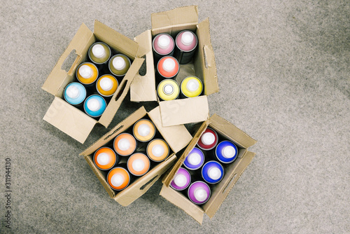 Set of aerosols with paint of different colors for painting walls and graffiti in a cardboard box Canvas Print