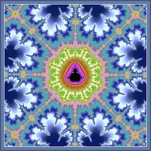 Blue Floral Mandelbrot Set Zoom Fractal