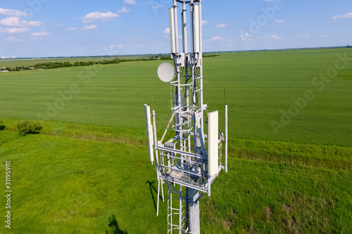 Cellular tower. Equipment for relaying cellular and mobile signa Canvas Print