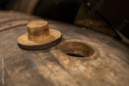 Fotografie, Obraz Production of fortified jerez, xeres, sherry wines in old oak barrels in sherry