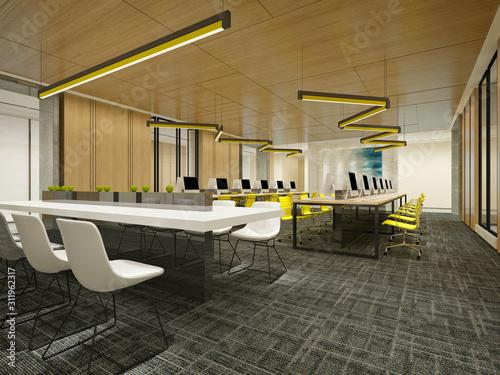 Fototapeta 3d render modern office interior obraz na płótnie