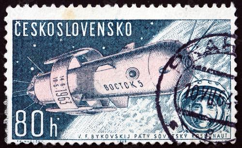 Fotografiet Postage stamp Czechoslovakia 1962 Soviet spaceship Vostok 2