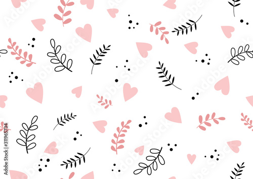 Fototapeta Seamless romantic spring vibe pattern with hearts and leaves