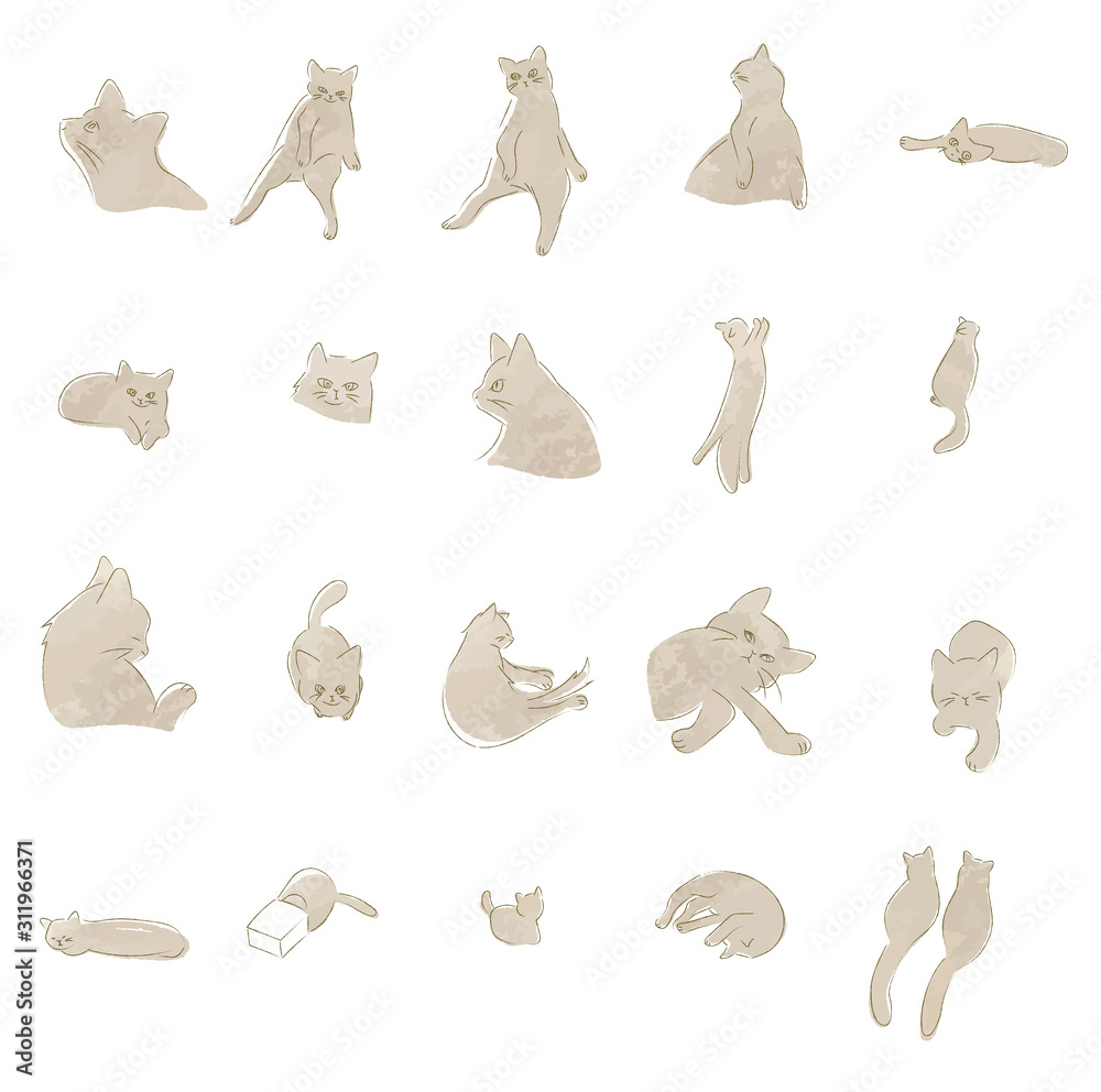 手描き 猫のイラスト セット