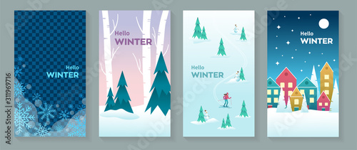 Set of Hello Winter vector postcards or background images oriented vertically, w Canvas-taulu