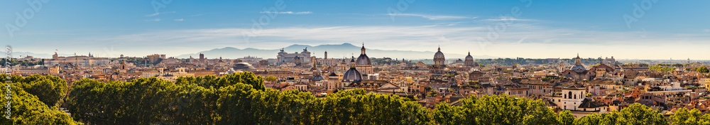 Fototapeta Panorama of the ancient city of Rome, Italy from the Castel Sant'Angelo