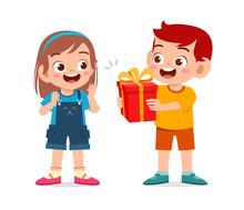 Happy Cute Kid Boy Give Present To Friend