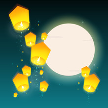 Lanterns Floating At Night Sky With Moon. Design Banner For Chinese New Year, Mid Autumn Festival And Lantern Festival. Vector Illustration.