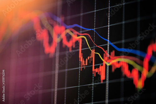 Obraz Stock crash market exchange loss trading graph analysis investment indicator business graph charts of financial digital background down stock crisis red price in down trend chart fall / - fototapety do salonu