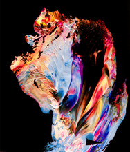 Abstract Light Colorful Watercolor Colorful Background And Paint Strokes Isolated On Black Background