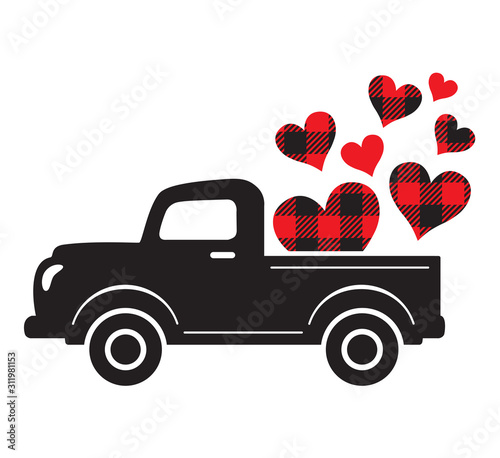 Vector illustration of a vintage truck carrying valentine heart. Plaid buffalo pattern hearts. #311981153