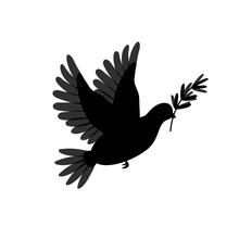 Pigeon Silhouette With Olive Branch. Dove Brid Isolated On White. Symbol For Peace, Love, Faith And Hope.