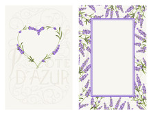Marriage Invitation Card With Text Place And Flower Frame. Lavender Frame For Provence Card. Printable Vintage Marriage Invitation With Flowers Over Gray. Lavender Sign Label. Vector Illustration.
