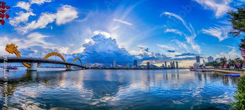 Fototapeta View of Dragon bridge which is a very famous destination of Da nang city, Vietnam. obraz