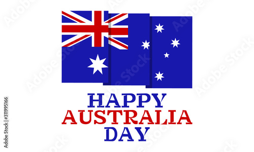 Happy Australia day 26 January. Flag of Australia on a white background. Greeting card, poster, banner concept.