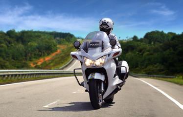 Highway Patrol Policeman on Motorcycle