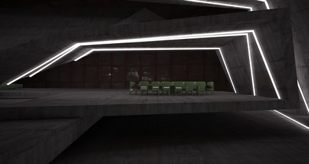 Abstract architectural concrete and rusted metal interior of a minimalist house with swimming pool and neon lighting. 3D illustration and rendering.