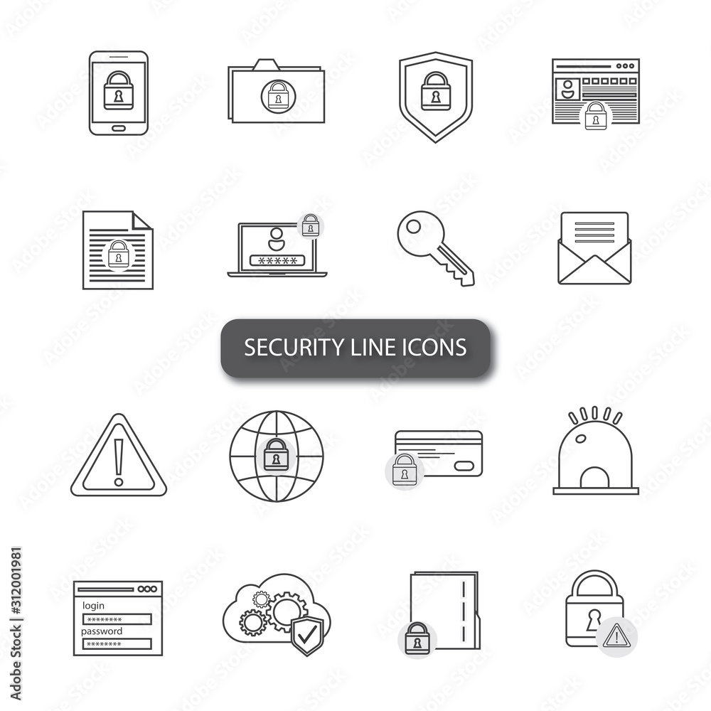 Fototapeta Security and protection thin line icons set