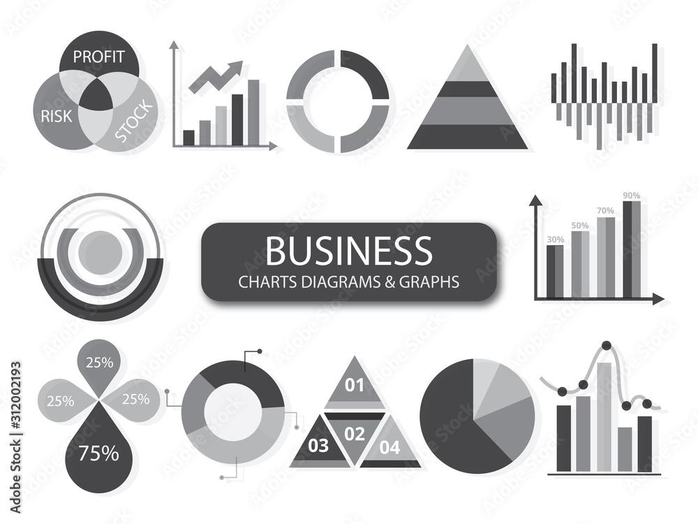 Fototapeta Set of elements for info graphics, charts, graphs, diagrams
