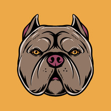 Pitbull Head Illustration. Animal Head Mascot Design. Cartoon Of Dog For Tshirt Design, Merchandise, Sticker, And Poster