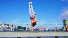 A Young Athletic Girl Equilibr...