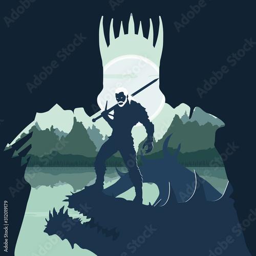he monster hunter killed the monster Wallpaper Mural