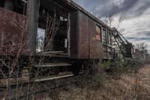 Offener Waggon Von Einem Rostigen Zug