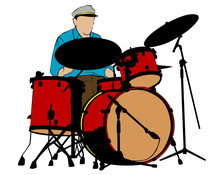 Jazz Musicians With Percussion Instruments . Isolated Silhouettes On White Background