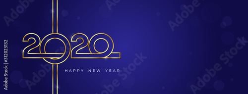 Cuadros en Lienzo  Golden 2020 and happy new year text on dark blue bokeh banner background
