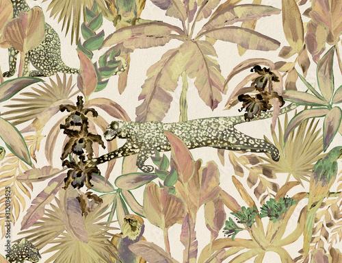 tropikalny-wzor-z-tropikalnych-kwiatow-lisci-bananowca-i-pantery-lamparta-kuguara-zbika-papugi-luksusowe-tlo