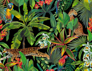 Fototapeta Malarstwo Tropical seamless pattern with tropical flowers, banana leaves and panther, leopard, cougar, wildcat, parrot. Luxury background