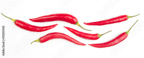 Hot red fresh pepper on a white background Canvas Print