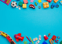 Kids Toys On Blue Background With Copy Space