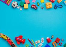 Kids Toys On Blue Background W...