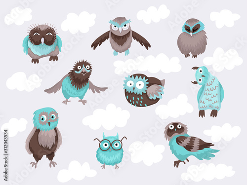 Set of characters of owl 9 designs Fototapet