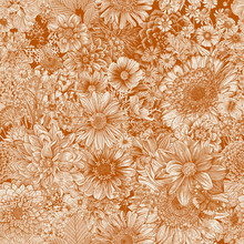 Seamless Floral Pattern 70s. Autumn Flowers And Butterflies. Orange.