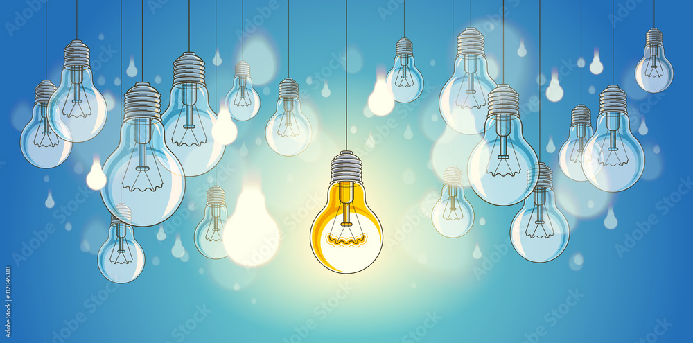 Fototapeta Idea concept light bulbs vector illustration with single one is shining, think different, creativity, be special, leadership.