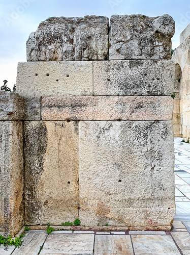 Ancient stone wall of the Acropolis, Athens, Attica region in Greece Canvas Print