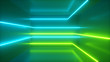 canvas print picture Abstract background, moving neon rays, luminous lines inside the room, fluorescent ultraviolet light, blue green spectrum, 3d illustration