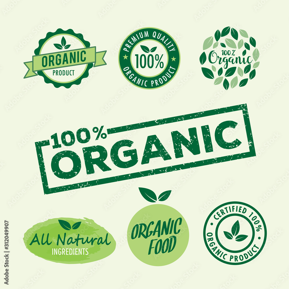 Fototapeta Set of stamp lettering for organic product, natural ingredients logo badge vector template illustrator