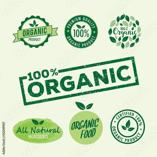 Set of stamp lettering for organic product, natural ingredients logo badge vector template illustrator Fototapete
