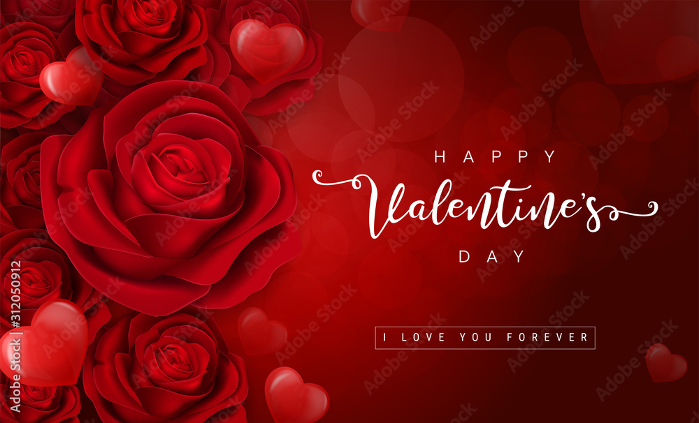 Fototapeta Valentine's day greeting card templates with realistic of beautiful red rose on background