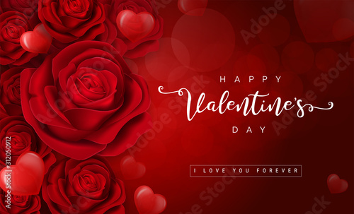 Fototapeta Valentine's day greeting card templates with realistic of beautiful red rose on background  obraz