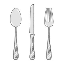 Fork, Knife, Spoon - Illustrat...