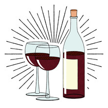 Bottle Of Wine And Two Glasses - Illustration/ Clipart