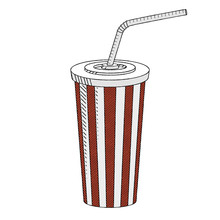 Cola/ Soda With A Straw - Illustration/ Clipart