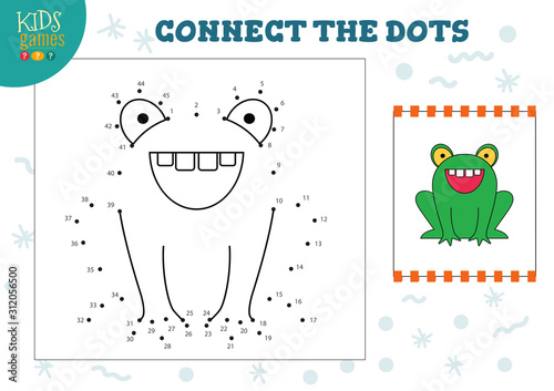Connect the dots kids game vector illustration Wallpaper Mural