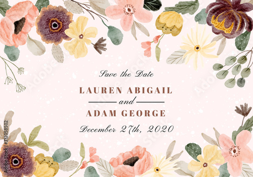 save the date with pretty watercolor floral frame Fototapet